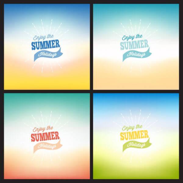 Summer blurred backgrounds set vector