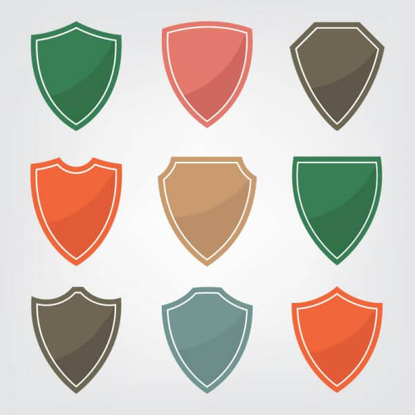Set of color shield icons vector