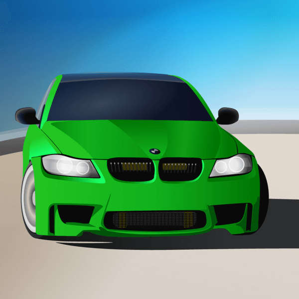 green sports car vector