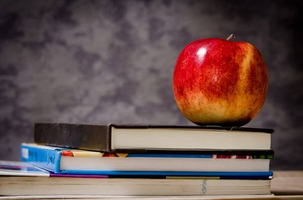 Apple on Top of Books photo