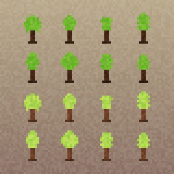Pixel Trees Set vector