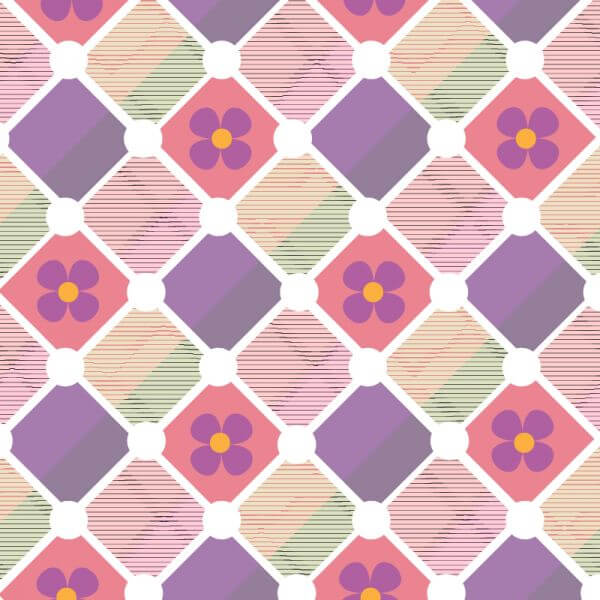 Plaid background with flowers vector