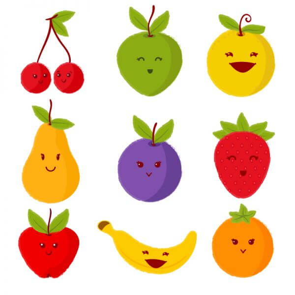 Set of cute fruits vector