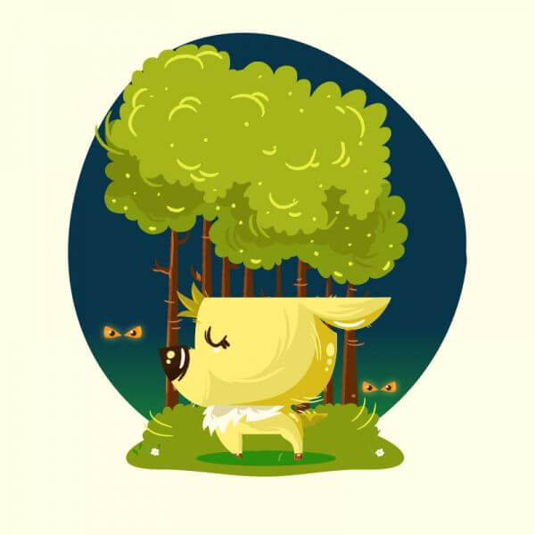 Cute baby deer in the woods vector