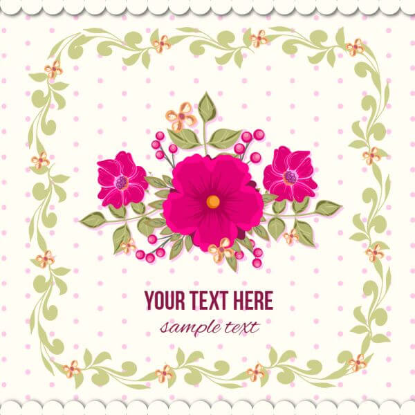 Floral illustration with frame vector