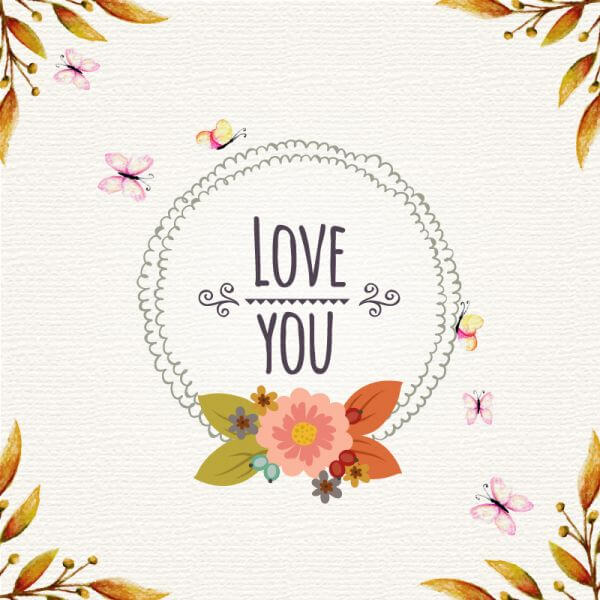 Vintage floral illustration with frame and butterflies vector