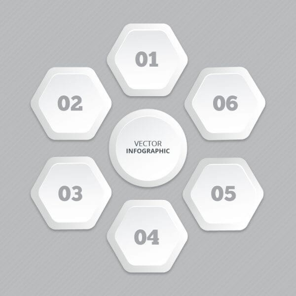 Infographic with honeycomb structure vector