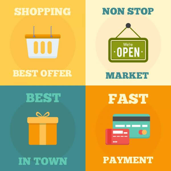 Shopping flat concept design vector