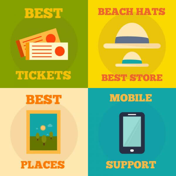 Set of flat design concepts- mobile, events, summer, travel vector