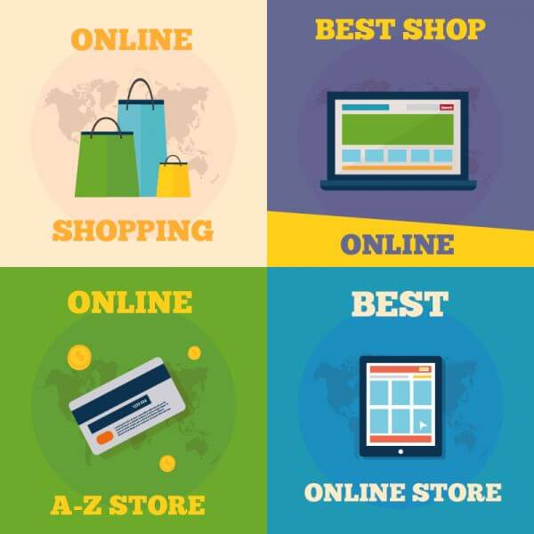Online shopping flat concept design vector