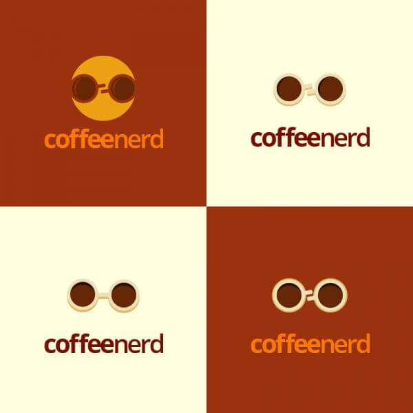 Coffee Nerd logo design vector