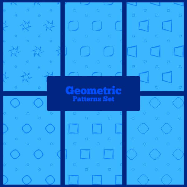 Blue geometric patterns set vector