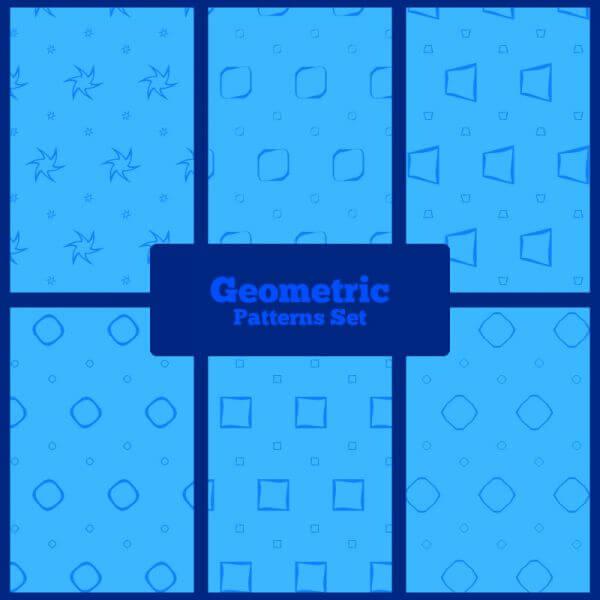 Blue geometric patterns set vector
