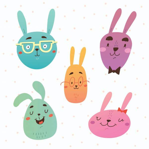 Funny bunnies faces vector set vector