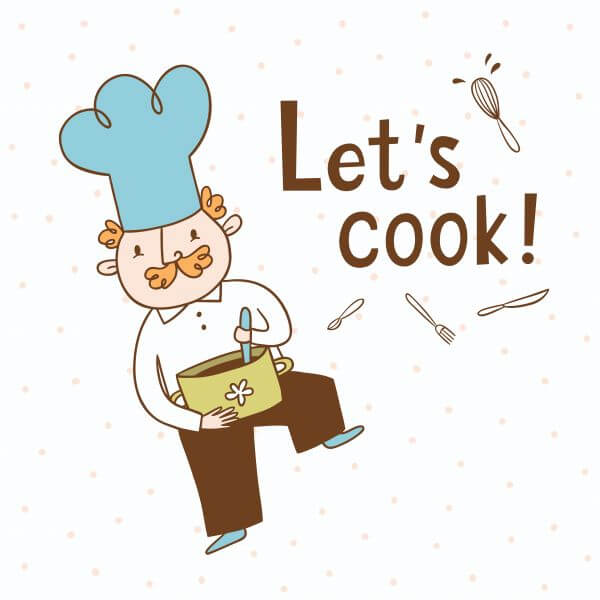 Let's cook. Vector illustration of a cook vector