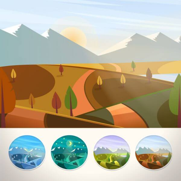 Mountain landscape in autumn season vector