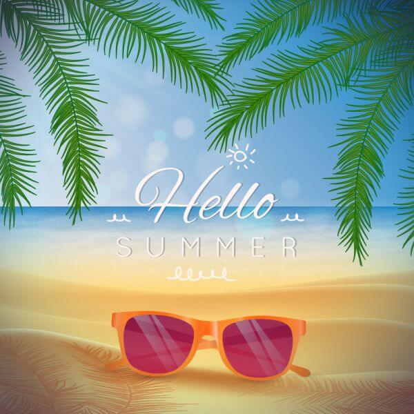 Summer beach landscape with glasses on the sand vector