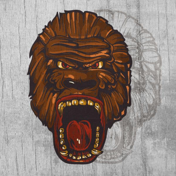 Ape head mascot on wood texture  vector
