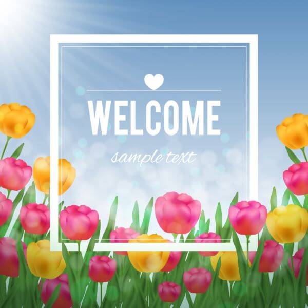 Floral illustration with tulips and white frame vector