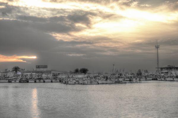 Harbor at sunset photo