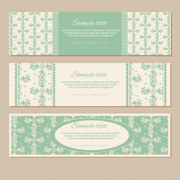 Vintage floral banners vector