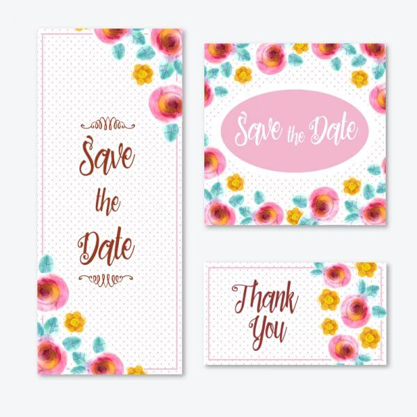 Watercolor cards with flowers  vector
