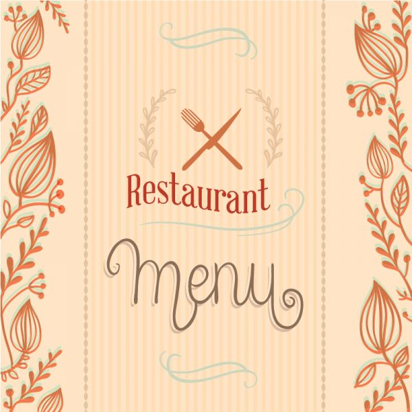 Restaurant menu with florals vector