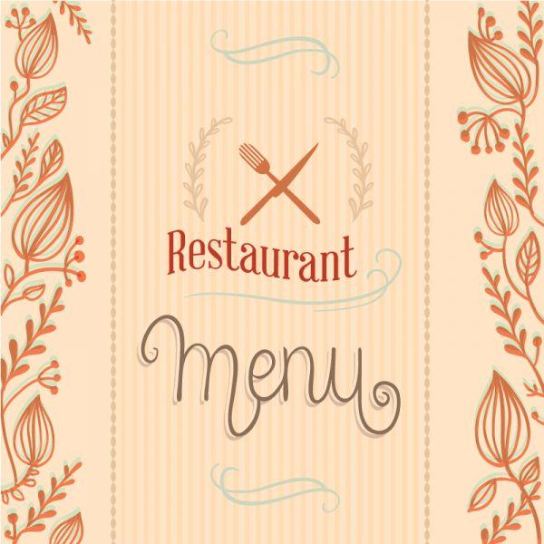 Restaurant menu with florals vector