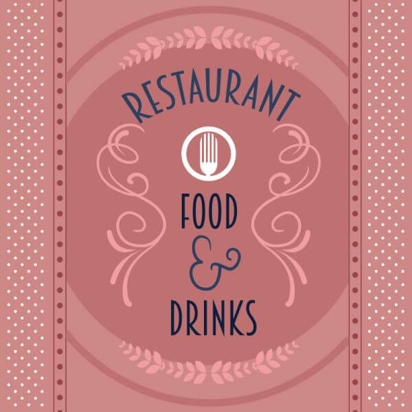 Restaurant card with floral decorations vector