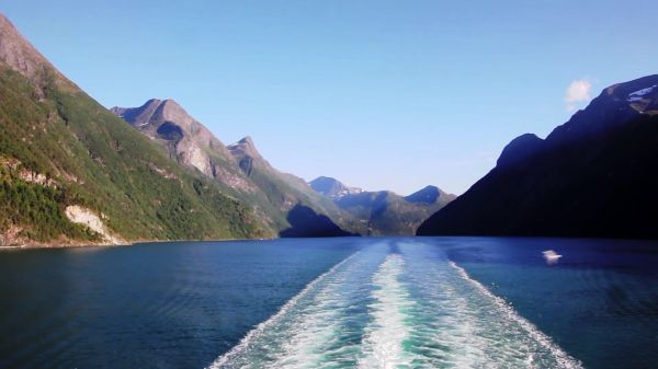 Norway  ship travel  fjord video