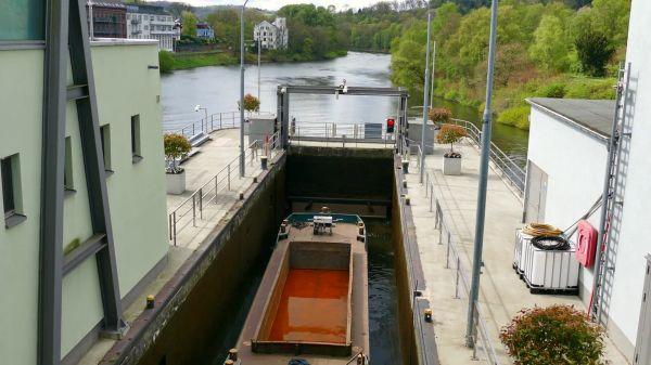 Lock  shipping  inland waterway transport video