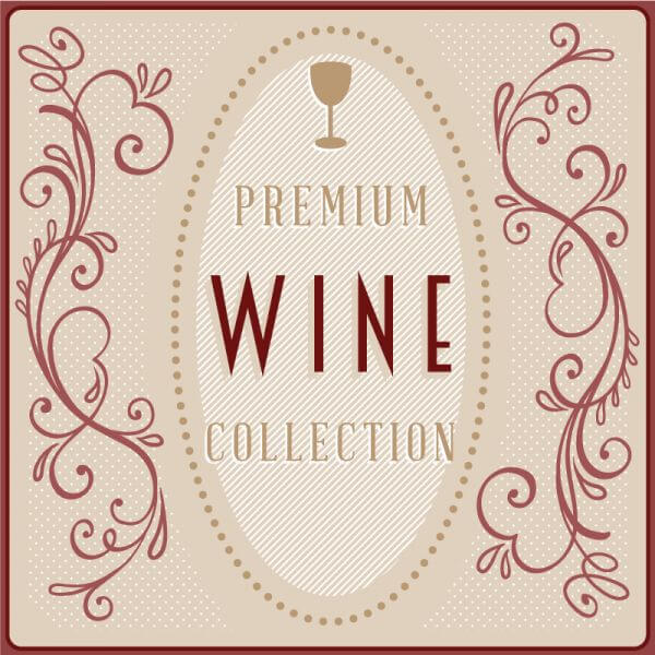 Wine card with floral decorations vector