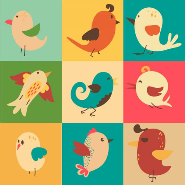 Cute vector set of birds vector