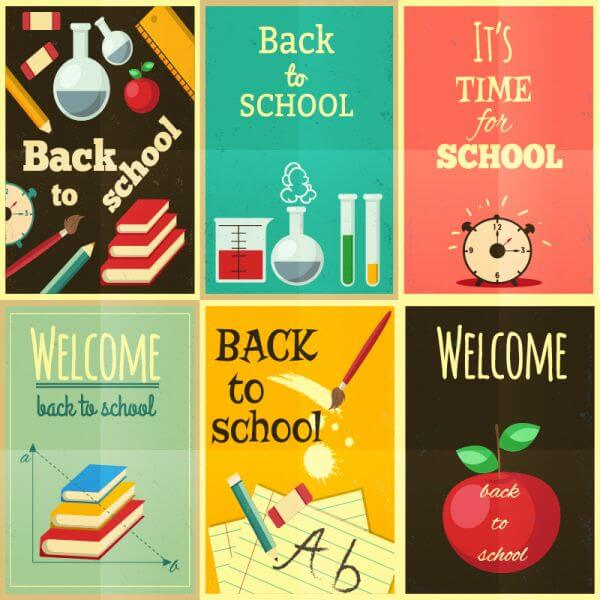 Back to school set of illustrations vector