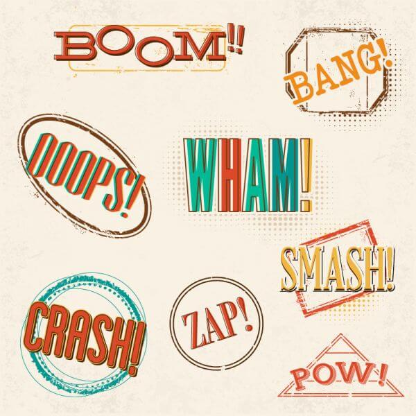 Retro comic book exclamations vector