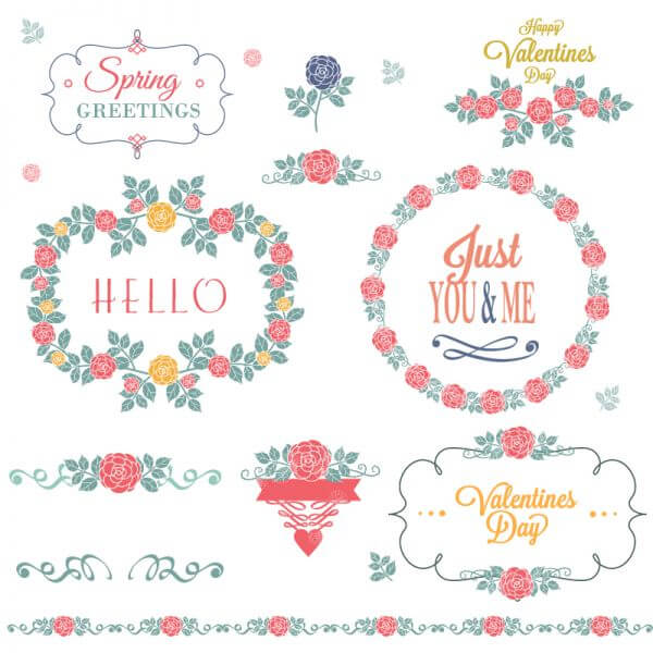 Flower set of decorations vector