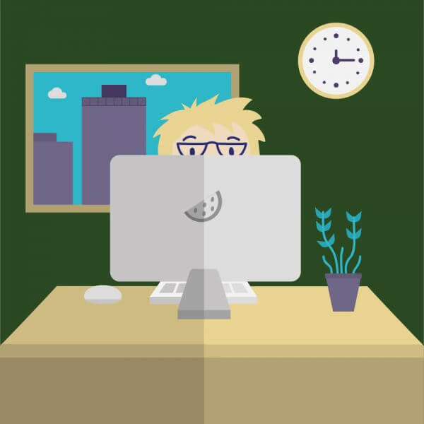 Man on Computer vector