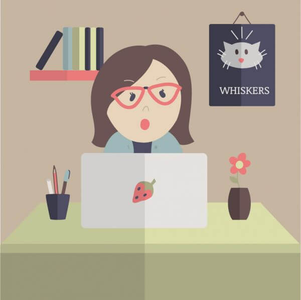 Shocked Woman on Laptop vector