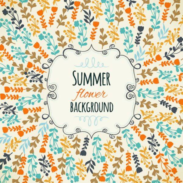 Floral background with cute frame vector