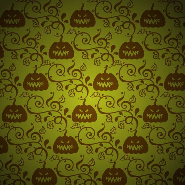 Pumpkin with leaves on green background vector
