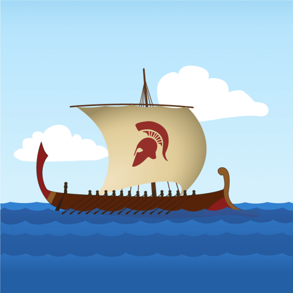 Greek Sailboat vector