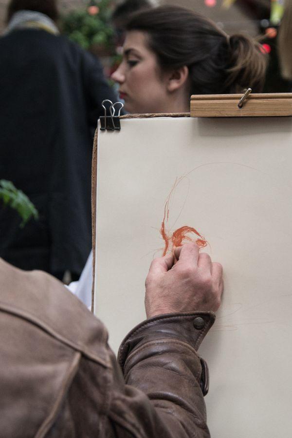 Street artist in action photo