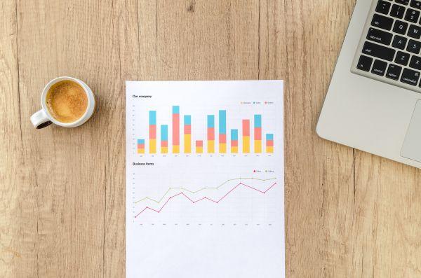 Charts Paper Laptop Desk Wood photo