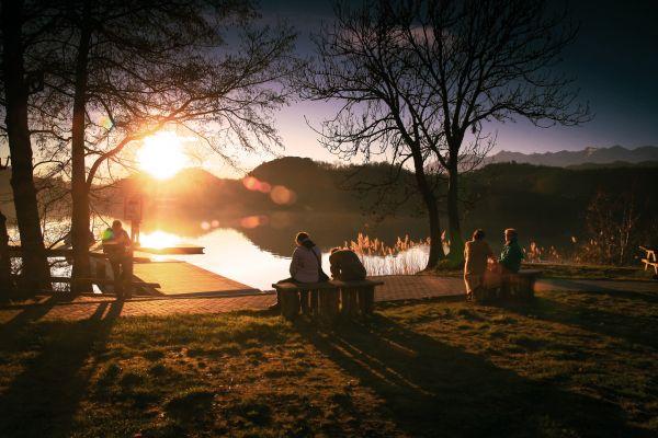 Park Lake Sunset Bench photo