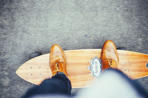 Wood Shoes Foot Skateboard photo