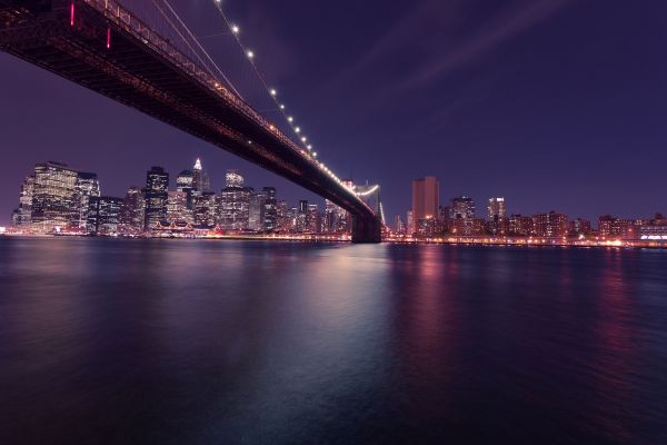 New York City Brooklyn Bridge Night photo