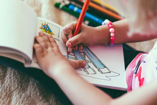 Child Drawing Pencil Notepad Color photo
