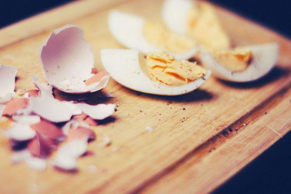 Broken Boiled Egg Wood Chopping Board photo
