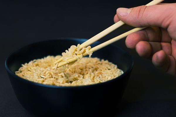 Black Bowl Noodles Chopsticks photo
