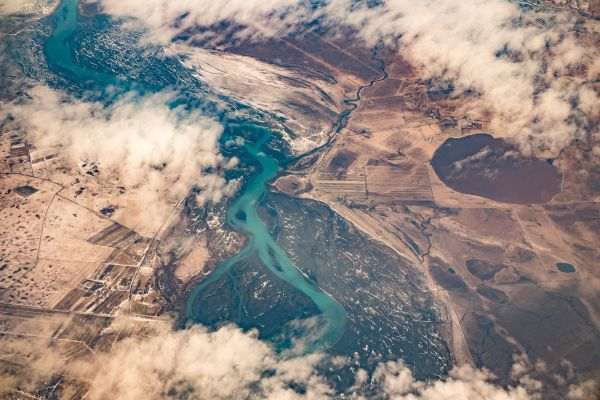 Aerial View Mountains River photo